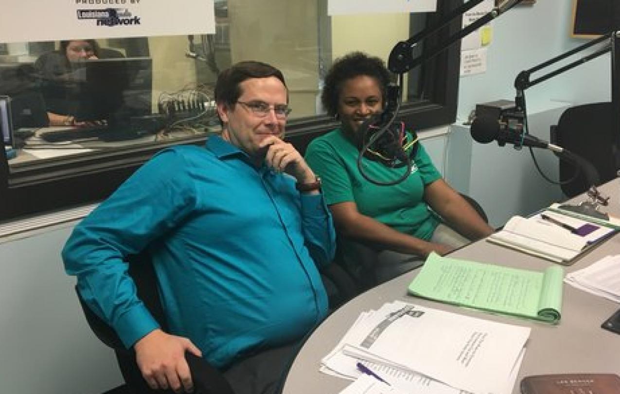 AFSCME Council 17 member Shante` Gibbs talks with Jim Engler of Louisiana Radio Network.