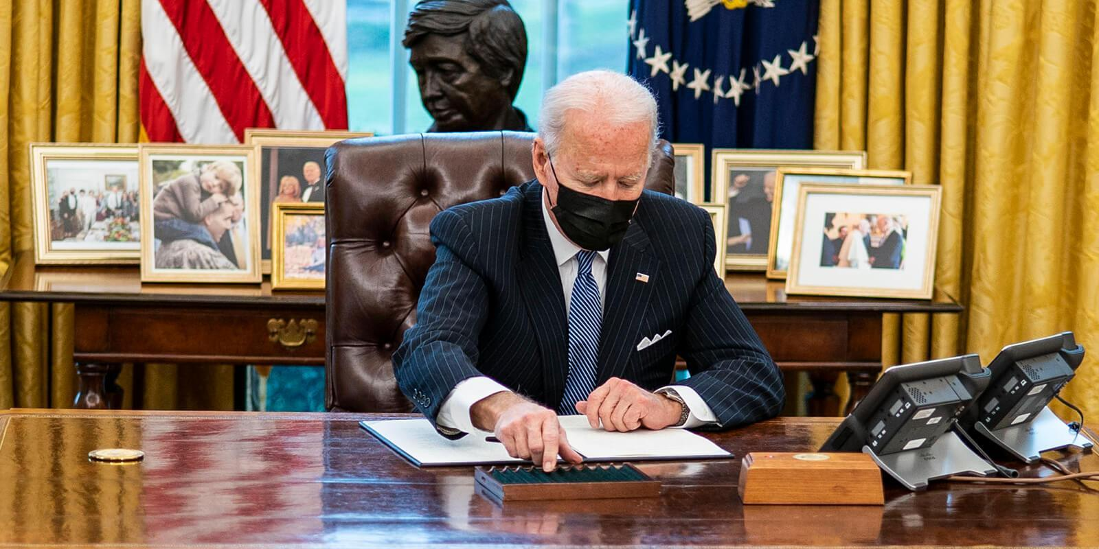 President Joe Biden at his desk