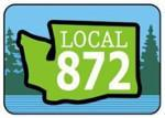"""Icon logo with trees in background, outline of Washington state in front and words """"Local 872."""""""