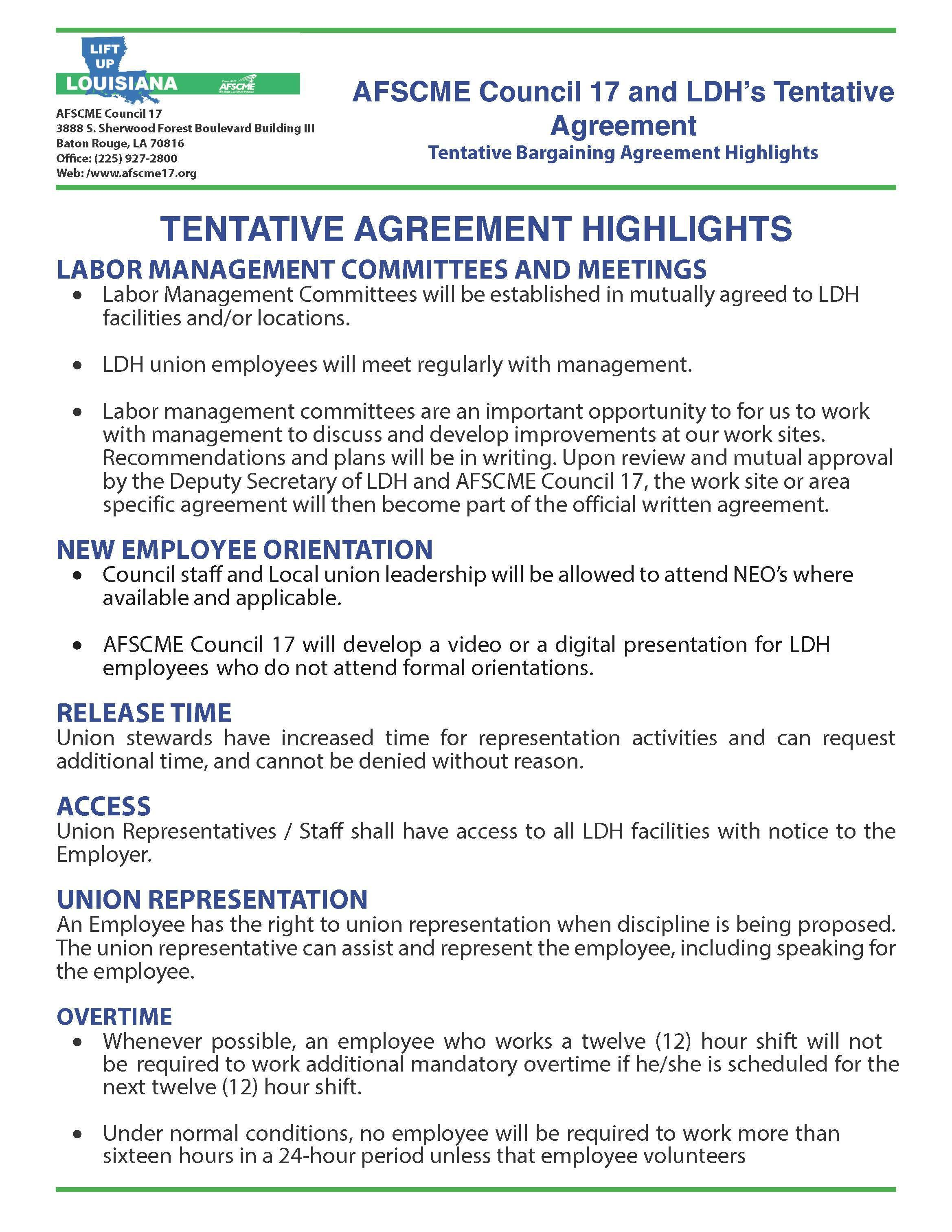 Bargaining Agreement Highlights For Louisiana Department Of Health